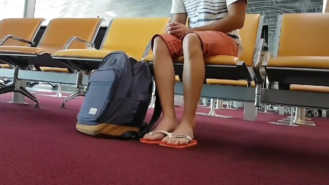 Boy put on flip flops.. amateur gay handjob videos